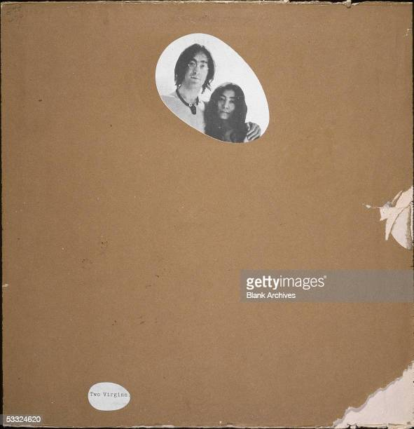 View of a censored version of the front cover of the record album 'Two Virgins,' by British musician John Lennon and Japanese-born musician and...