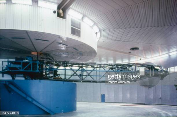 View of a centrifuge with fiftyfoot arm used in astronaut training at NASA's Manned Space Center Houston Texas 1960s