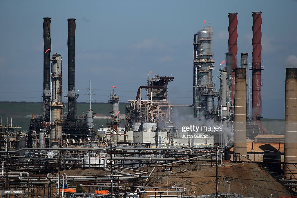 A view of a Chevron refinery on March 3, 2015 in Richmond, California. U.S. gas prices have surged an average of 39 cents in the past 35 days as a result of the price of crude oil prices increases, scheduled seasonal refinery maintenance beginning and a labor dispute at a Tesoro refinery. It is predicted that the price of gas will continue to rise through March.