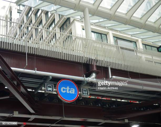 View of a Chicago Transit Authority sign at the Washington Wabash elevated train station Chicago Illinois February 28 2018