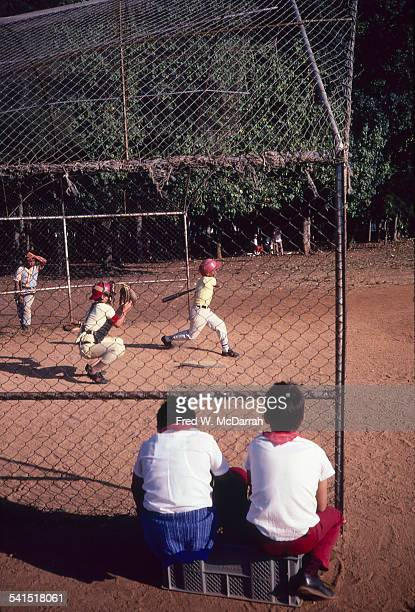 View of a children's baseball game at Lenin Park in the Arroyo Naranjo district Havana Cuba January 30 1983
