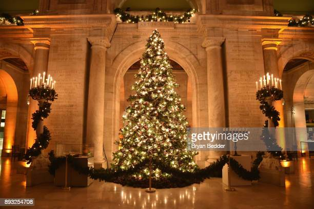 A view of a Christmas tree inside the Berggruen Prize Gala at the New York Public Library on December 14 2017 in New York City
