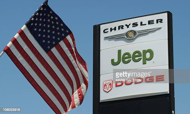 View of a Chrysler Jeep Dodge sign at a Chrysler dealer in Los Angeles on September 3 2010 Chrysler reported its August car sales in the United...