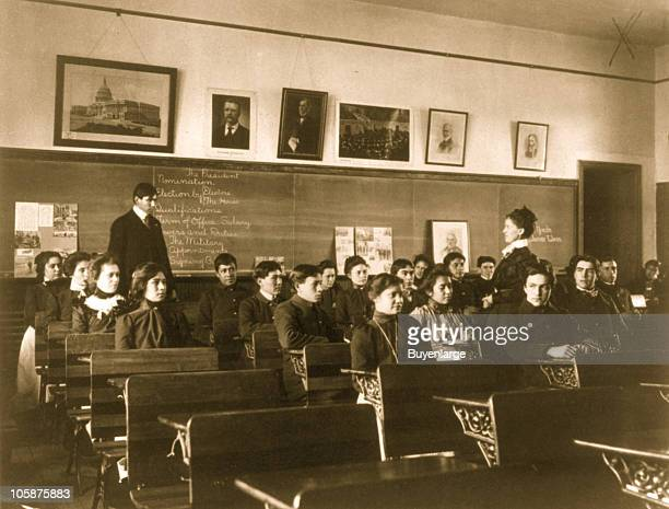 View of a class in government at the Carlisle Indian School Carlisle PA 1901