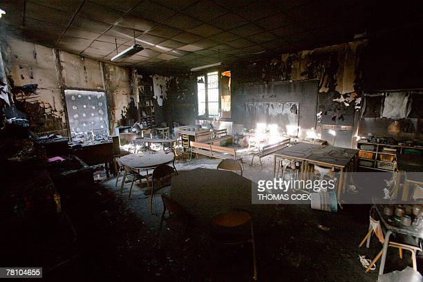 View of a classroom of a school taken 27 November 2007 in VilliersleBel outside Paris after it was torched by rioters as a reaction to the death of...