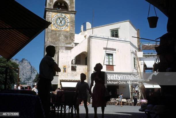 A view of a clock tower in the town square in Capri Italy