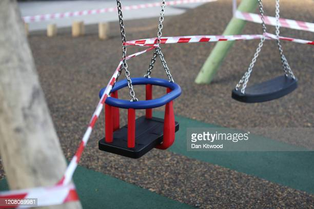 A view of a closed childrens playground on March 24 2020 in London United Kingdom British Prime Minister Boris Johnson announced strict lockdown...