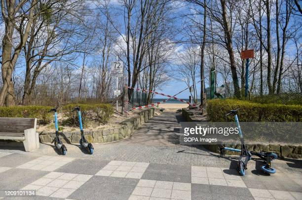 A view of a closed entrance to the beach in Gdansk From March 31 the Polish government introduced new restrictions in connection with the coronavirus...
