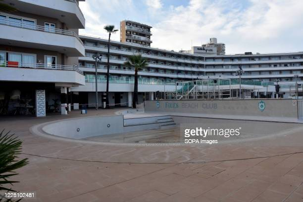 View of a closed hotel due to Covid-19 and the low influx of tourists. Hotels, nightclubs, and part of the commerce of the Balearic Islands in Spain...