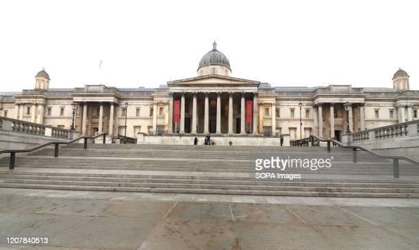 View of a closed National Gallery at Trafalgar Square amid Coronavirus threats in London UK Government is drawing up plans to enforce closure of...