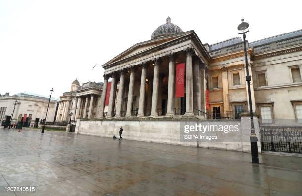 View of a closed National Gallery at Trafalgar Square amid Coronavirus threats in London. UK Government is drawing up plans to enforce closure of...