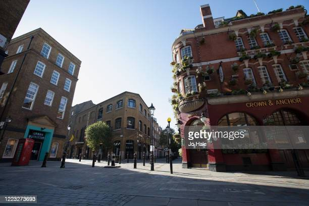 View of a closed pub, Crown and Anchor and Shops in Covent Garden on May 06, 2020 in London. The country continued quarantine measures intended to...