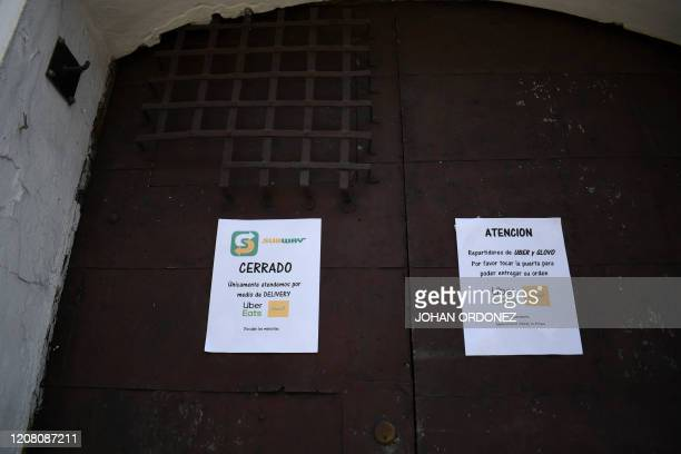 View of a closed restaurant on March 19, 2020 in Antigua, a main tourist destination located 45 km southeast of Guatemala City. - The situation...