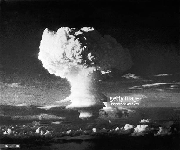 View of a cloud plume after the nuclear detonation codenamed Mike Enewetak Marshall Islands November 1 1952 The detonation the first of two in...