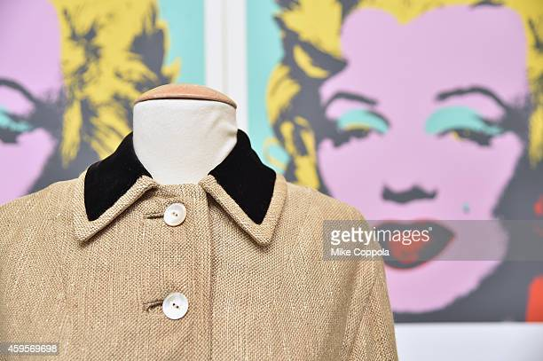 A view of a coat worn by Marilyn Monroe as part of the Lost Archives of Marilyn Monroe at The Ross Art Group on November 25 2014 in New York City