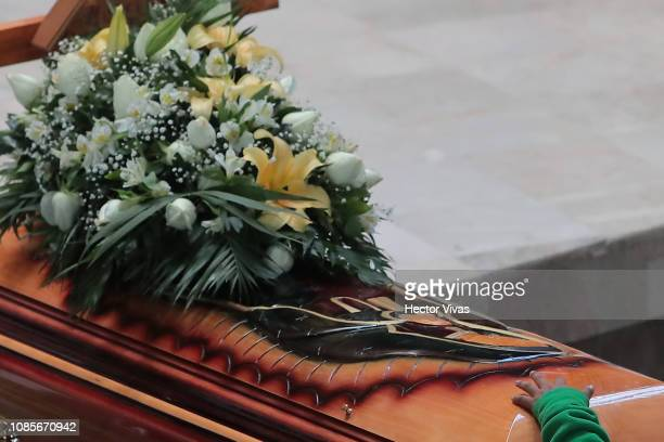 View of a coffin inside the Church of San Francisco de Asis during the funeral services of the victims of an explosion in a pipeline belonging to...