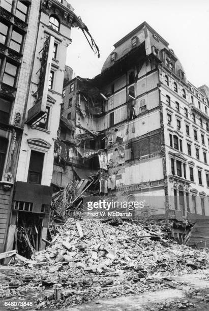View of a collapsed section of the University Hotel New York New York August 3 1973 Four people died in the incident