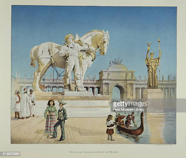 View of a color illustration depicting the Statue of Industry Court of Honor with men and women in costumes during the World's Columbian Exposition...