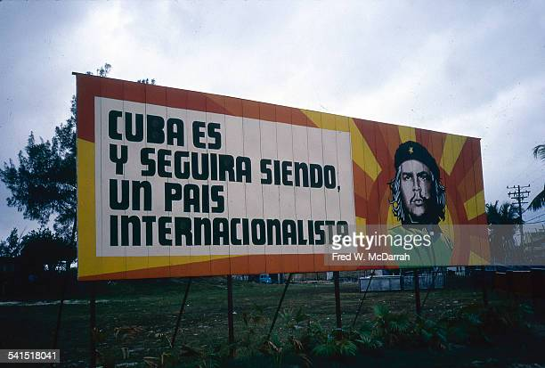 View of a colorful billboard which features a portrait of Che Guevara on the exit road to Jose Marti International Airport Havana Cuba January 27...