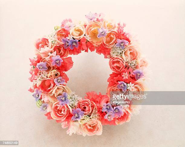 View of a colorful wreath