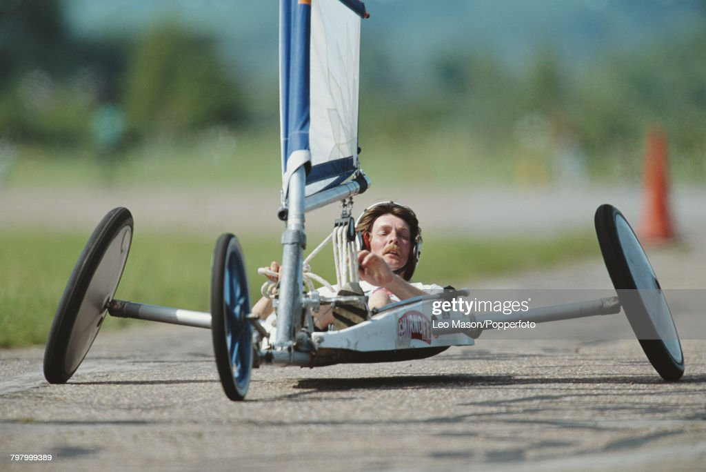 View of a competitor steering a sand yacht in a land sailing (land yachting) event at RAF Bassingbourn airfield in Cambridgeshire, England in 1992.
