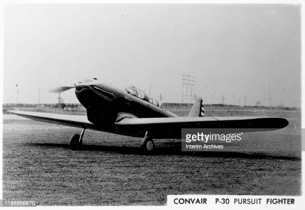 View of a Consolidated Aircraft Convair P30 Pursuit Fighter on the ground 1940s