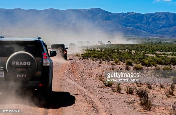 View of a convoy of supporters of former Bolivian President Evo Morales and journalists, upon his return to the country, in Potosi department,...