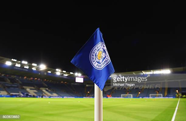 A view of a corner flag and stadium prior to the Barclays Premier League match between Leicester City and Manchester City at The King Power Stadium...