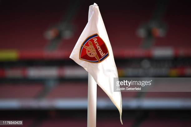 View of a corner flag prior to the Premier League match between Arsenal FC and AFC Bournemouth at Emirates Stadium on October 06, 2019 in London,...