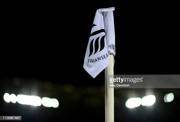 View of a corner flag prior to the Sky Bet Championship match between Swansea City and Birmingham City at Liberty Stadium on January 29, 2019 in...