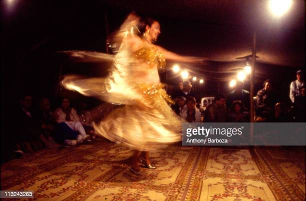 View of a costumed belly dancer as she performs for a small audience under a tent Israel 1997