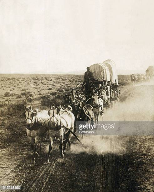 View of a covered wagon going westward Undated photograph