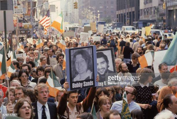 View of a crowd of demonstrators as they march in support of Irish hunger strikers Bobby Sands Patsy O'Hara and others New York New York 1981