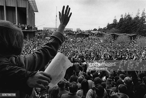 View of a crowd of student protesters at the University of California Berkeley California 1965