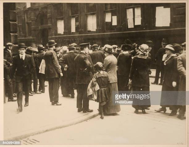 View of a crowd outside the Cunard Line offices as they wait for news of the fate of the passengers and crew of the RMS Lusitania Liverpool England...