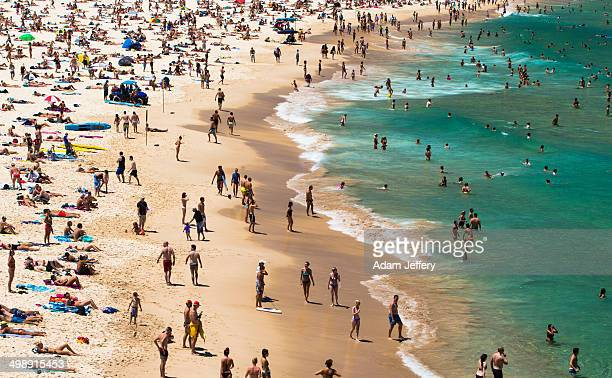 CONTENT] View of a crowded Bondi Beach in Sydney Australia