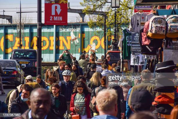 View of a crowded Camden High Street. People flocked outside over a busy weekend in London as lockdown rules are relaxed in England.