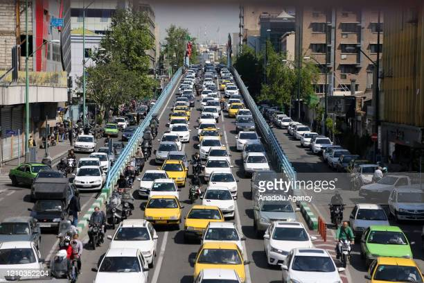 View of a crowded road in capital Tehran, Iran on April 18, 2020. After the restrictions, which were imposed for new type of coronavirus , removed...