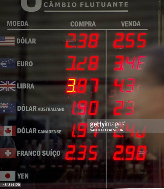 View of a currency exchange bureau board announcing a rise of the US Dollar in relation with the Brazilian Real in the financial district of Rio de...