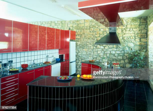 View of a curved counter in a kitchen