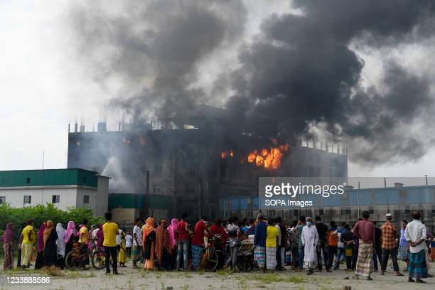 View of a damaged building after a fire broke out at a factory named Hashem Foods Ltd in Rupganj of Narayanganj district on the outskirts of Dhaka....