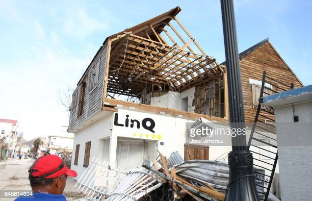 View of a damaged building on September 11 2017 in Philipsburg St Maarten The Caribbean island sustained extensive damage from Hurricane Irma