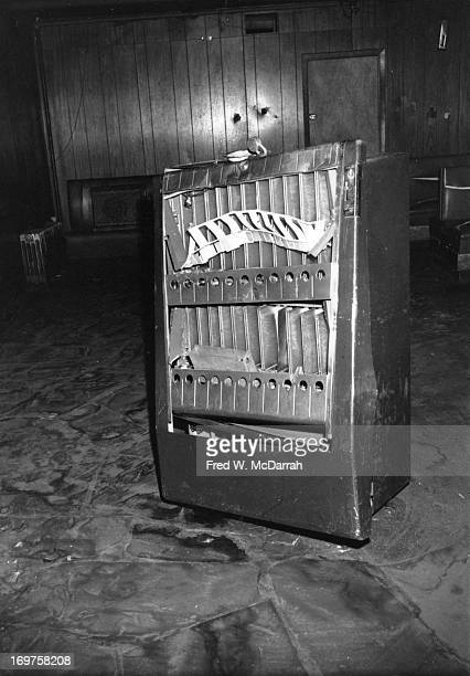 View of a damaged cigarette machine inside the Stonewall Inn after riots over the weekend of June 27 1969 The bar and surrounding area were the site...