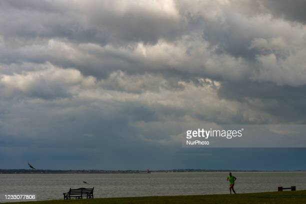 View of a dark sky and approaching rain seen near Seapoint area of Dublin. On Sunday, 23 May 2021, in Dublin, Ireland.