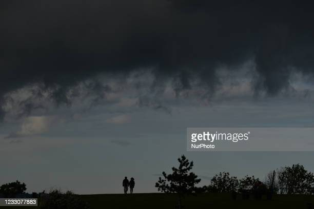 View of a dark sky and approaching storm seen near Seapoint area of Dublin. On Sunday, 23 May 2021, in Dublin, Ireland.