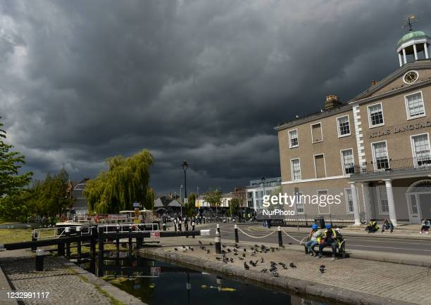 View of a dark sky in Portobello area of Dublin. On Tuesday, 18 May 2021, in Dublin, Ireland.