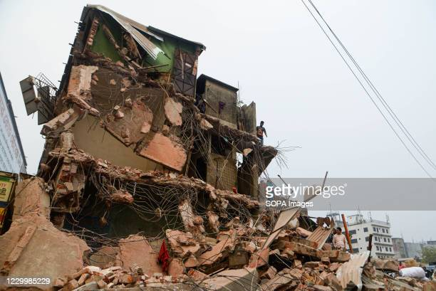 View of a demolished house. Bangladesh Inland Water Transport Authority conducts a drive to evict illegal structures from the bank of Buriganga River...