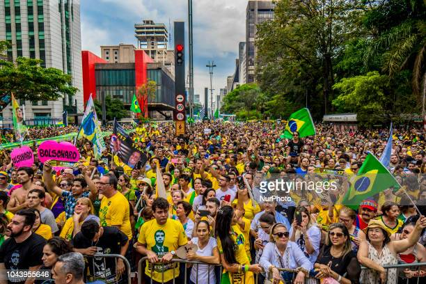 View of a demonstration in support of Brazilian rightwing presidential candidate Jair Bolsonaro at Paulista Avenue in Sao Paulo Brazil on September...