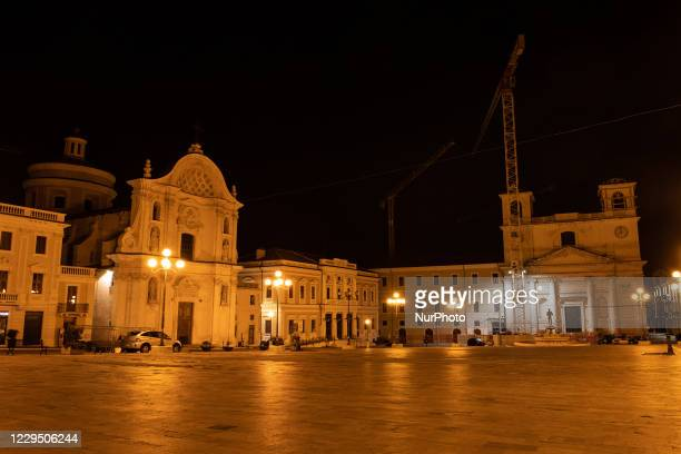 View of a deserted atmospherein L'Aquila, Italy on November 7, 2020. On November 6 from 10 pm to 5 am in Italy starts the national curfew due covid19...