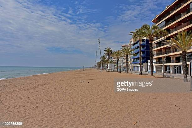 A view of a deserted Calafell beach during the Christian Easter holiday After the state of alarm and the confinement of people in their homes due to...